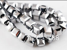 Bulk 30pcs Silver Plated Glass Crystal Faceted Cube Beads 8mm Spacer Findings