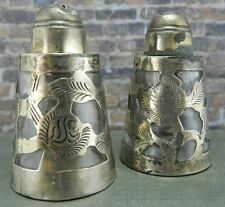 Antique Signed LHM Mexico Silver Eagle Mark Sterling Salt & Pepper Shakers