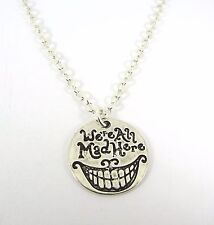 Alice in Wonderland We're All Mad Here Pendant Silver Necklace New in Gift Bag