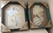 Shadowbox Frame 11 x 14 Green or Black Wood with Pins and Cloth Parisian Home