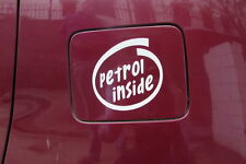 White Petrol inside Decal / Sticker for Car Fuel Lid