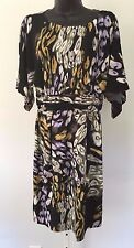 NWT TAYLOR black gold purple olive ABSTRACT dress BLOUSON straight knee length 6