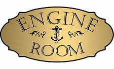 "Gold ""Engine Room"" Door Sign Wall Plaque Nautical Boat Beach - Free Shipping"