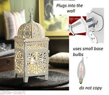 plug in shabby WHITE Moroccan electric LANTERN bedside Table Lamp night light