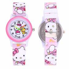 Neue Hello Kitty Armbanduhr für Kinder Mädchen rosa weiß Silkon analog Gummi