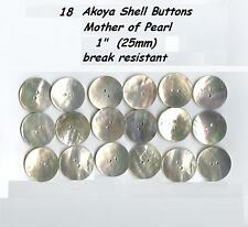 "18 Akoya Shell Mother of Pearl Buttons 1"" 25mm Agoya Finest Quality"