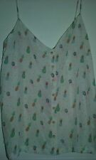 Des Petits Hauts Pineapple Vest Top 100% Silk NEW WITH TAGS