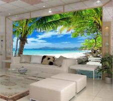3D Wallpaper Bedroom Living Mural Beach island Coconut Modern Wall Background