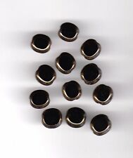 Vintage black flat round window glass beads with gold edges--10 mm.