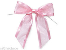 12 Baby Pink Organza Bows Twist Ties Party Crafts Gifts Valentines Day Weddings