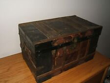1800's Antique Wooden Doll Child's Trunk Chest Salesman Sample Removable Tray