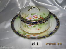 Nippon Cheese~Butter Serving Dish~Pink Floral~Cobalt & Gold Trim~Mark # 47