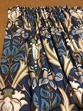 iliv  Art Deco Acanthus Navy (William Morris Style) Curtains Hand Sewn,4 Colours