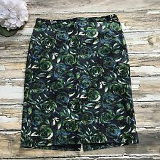 Ann Taylor Loft Skirt Floral Roses Pencil St Patrick 12 Womens Blue Green Career