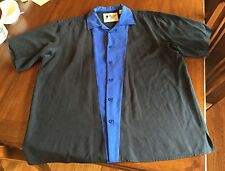 Vintage Silk Circa 1969 Black Blue Paneled Bowling Mens Silk Shirt XL Lounge SS