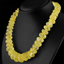 838.00 CTS NATURAL RICH YELLOW CITRINE UNTREATED ROUND CARVED BEADS NECKLACE