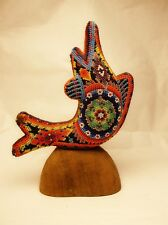 Vintage Hand Carved Hard Made Beaded Huichol Dolphin Figurine Folk Art Mexico