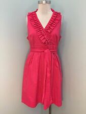 White House Black Market Pink Flare Career Cocktail Ruffle Dress Excellent 12 L