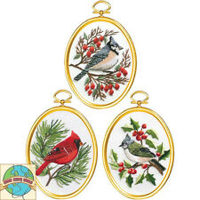 Embroidery Kit ~ Janlynn Set of 3 Winter Birds w/Frames #004-0861