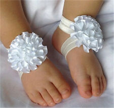 1 Sets 3Pcs/Baby Infant Headband Foot Flower Elastic Hair Band Accessories White