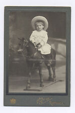 Ca. 1905-1910 CABINET PHOTO GIRL RIDING HIDE COVERED WOOD TOY HORSE, BULGARIA