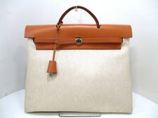 Authentic HERMES Ivory Brown Her Bag MM Toile H Box Calf Handbag Square D