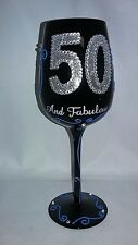 HAND PAINTED 15 OZ BLACK WINE GLASS SILVER 50 FIFTY AND FABULOUS 50TH BIRTHDAY