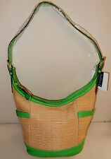 New B. Makowsky Straw Zip Top Hobo with Glove Leather Trim in Natural/Meadow