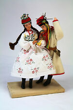 POLISH FOLK COSTUME DOLL COUPLE Poland Folk Art Vintage Handmade Dolls Ethnic