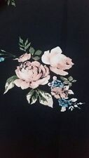 Polyester and viscose crepe black, pink rose floral print fabric material