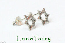 Solid 925 Sterling Silver Star of David Stud Earrings Jewish Religious