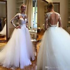 Long Sleeve Lace Wedding Dress With Detachable Tulle Skirt Backless Bridal Gown