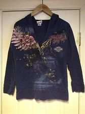 Harley Davidson Blue Rose Tattoo Long Sleeve Hoodie Womens Small