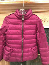 BURBERRY GIRLS' JADENE QUILTED DOWN PUFFER JACKET RED SIZE 10 YEAR