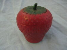 Vintage HAZEL ATLAS Covered Strawberry Milk Glass JAM Jelly JAR Pot