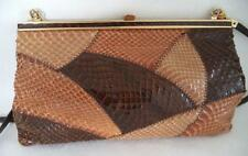 JANE SHILTON BROWN SNAKESKIN  LEATHER CLUTCH OR SHOULDER BAG HANDBAG FRAME