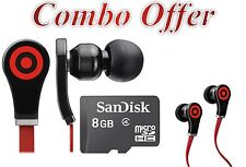 Combo Offer Earbud Headphones - Black,with Sandisk 8 gb micro SD card