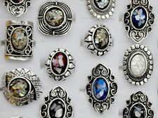5pcs/Lot Mixe Color Wholesale Stone Tibet Silver Plated Vintage Ring Jewelry