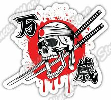 Kamikaze Skull Hachimaki Sword Samurai War Car Bumper Vinyl Sticker Decal 4.6""