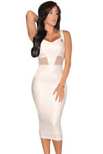 Abito cono aperto N maniche Women Mini Bandage faux leather open Bodycon dress M