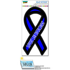 Support Law Enforcement Thin Blue Line Ribbon Police SLAP-STICKZ™ Bumper Sticker