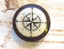 4 Handmade Nautical Knobs, Espresso Brown Drawer Pulls, Antique Style Compass