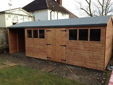16 x 8 wooden shed,workshop + open 6ft store area