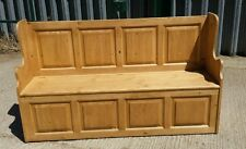 WOODSTOCK  4FT PINE SETTLE STORAGE HALL BENCH. Delivery can be arranged.