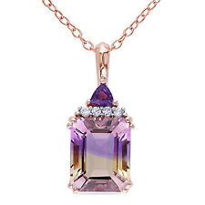 Rose Pink Sterling Silver Ametrine Amethyst and Diamond Pendant Necklace 18""