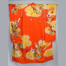"""Floral Carts"" Vintage Japanese Women's Wedding Kimono Kakeshita Bridal Dress"