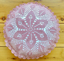 "Hand Crochet Lace Cushion Cover Hand Made Round 16"" Purple Pure Cotton"