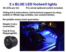 2 x 25cm Blue LED footwell lights includes switch fitting kit and instructions