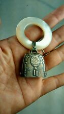 Nice antique sterling mother of signed W baby rattle 1926
