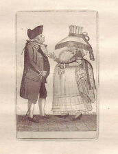 JOHN KAY Original Antique Etching.Mr. Robert Johnston, and Miss S. Hutton, 1786